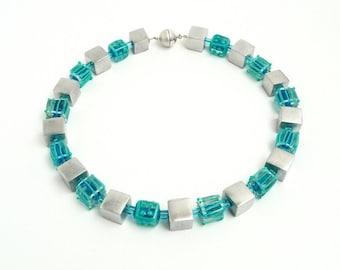 Necklace turquoise blue artist  handmade glass lamp work beads jewellery jewelry unique  glass cube aluminium beads