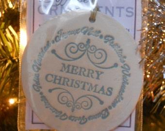 Diffuser Ornament - White Stoneware - Merry Christmas - Light Green