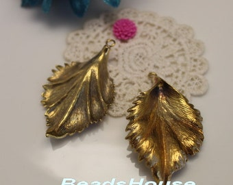 FF-600-04RB  2pcs Raw Brass Big Leaves Stamping Pendant Charms,Nickel Free