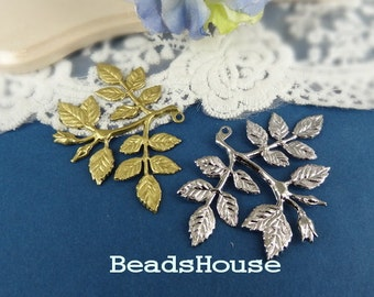 2pcs Brass Rose Leaves Branch Pendant Charm,Nickel Free