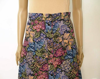 Vintage 1970s Front Button Skirt Floral Tapestry Look Flared Skirt / Small