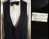 1920's Formal Black on Black Patterned Tuxedo Waistcoat with lapel size S Holmes dated 1928