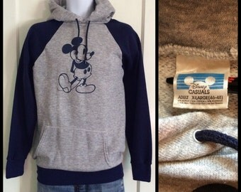 1980's Mickey Mouse 2 tone Hoody Heather Gray Navy Blue size XL Disney Casuals Character Pullover Sweatshirt