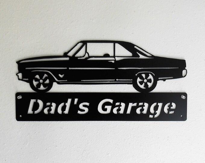 1966 1967 Chevrolet Nova -Metal Car Sign - Man Cave Sign - Personalized -  Metal Wall Art - Garage Sign - Satin Black - Man Cave