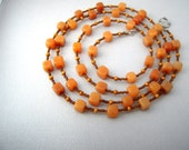 Orange Jade Necklace, Jade Bead Necklace, Long Necklace Stone,  Orange and Brown Necklace, Gem Stone Beaded Necklaces, Natural Stone Jewelry
