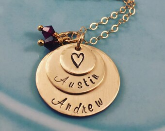 Gold Necklace Personalized - Hand Stamped Mom Jewelry - Kids Names Birthstones - Engraved Pendants