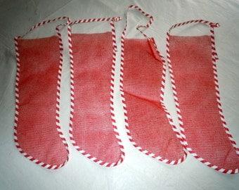 Lot of 4 Vintage Mesh 1960s Christmas Stockings
