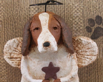 Basset Hound Angel, OOAK, hand-sculpted from papier mache, BASSET HOUND