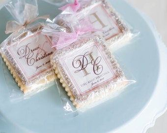 Champagne and blush wedding cookie favors