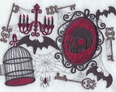 Gothic Collage Embroidered Terry Bathroom  Hand Towel  -- You Pick the Color---Free Shipping