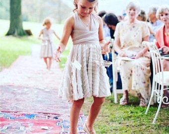 Childs/Girls~Convertible Wrap Ruffle Dress-Short Circle Skirt-Choose Any fabric- Flower Girl, Junior Bridesmaids