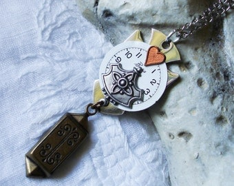 Steampunk Artist Creation - Stainless Steel Cross, Copper Heart, Watch Dial - One of a Kind   C 2-4