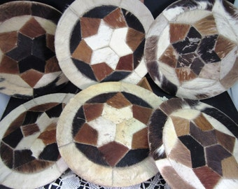 Cowhide Hair On Patchwork 10 Inch Round Set of 6 Vintage Findings for Crafting / Leather Working Supplies