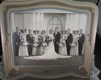 Vintage Deco Wedding Photograph of Bridal Party, Ballaun Studio in Detroit Michigan c. 1940's