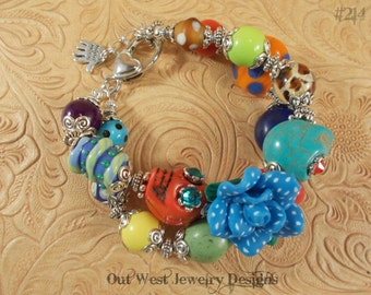 Chunky Day of the Dead Bracelet with Howlite Turquoise Sugar Skulls and Lampwork No. 214