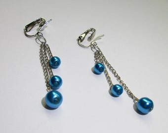 Long Pearl Dangle Earrings