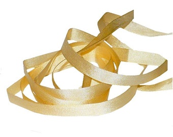 "1/4"" Vintage 1920's Sand Beige Silk Ribbon, Vintage Sewing Supply"