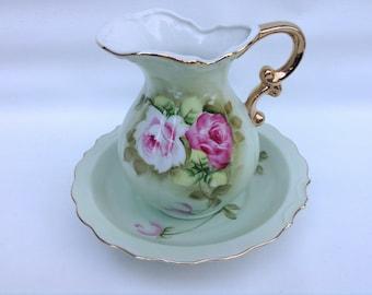 Green Heritage LEFTON Vintage Pitcher and Bowl, Pink Flowers