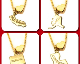 State Love Charm Necklace - You Choose