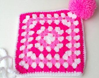 Babies Granny Square Pixie Bonnet, Pixie Hat, Girls Hats,  Crochet Hat,