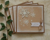 CHRISTMAS CARDS. Scandi-style. Rustic.'Snowfall ' ( pack of 4) Snowflakes. Glitter White. Kraft Brown. .ready to ship.UK seller.....