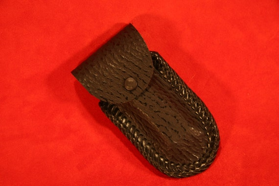 shark skin leather laced harmonica with belt loop black