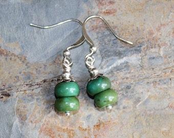 Green Earrings, Stone Earrings, Jasper Earrings, Handmade Earrings, Rustic Earrings, Boho Earrings, Bohemian Jewelry, Beaded Earrings