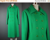 """40% OFF 60 Green Coat Vintage 1960s Wool Christmas Double Breasted Dress Winter Bromleigh XL B 42"""" W 39"""""""