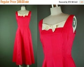 """40% OFF 50s 60s Dress Vintage 1950s Bright Red Cream Day Sleeveless B 38"""" L Large"""