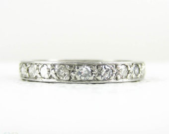 Art Deco Platinum & Diamond Eternity Ring, Full Hoop Pave Set Diamond Wedding Ring with Engraved Sides. 0.55 Carats, Size J / 4.75.