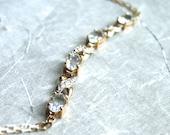 RESERVED Vintage Oval Cut Aquamarine and Diamond Bracelet / 10k Gold / Accessories / Bracelet / White Gold / Diamond Bracelet / Gemstones