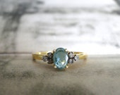 Emerald and Diamond Engagement Ring / 14k Gold Emerald Ring / Promise Ring / Holiday Gift / Statement Diamond and Emerald Ring