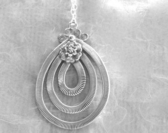 Jewelry, Vintage Pendant, Sterling Silver, Necklace for Her, Holiday Gift, Statement Necklace