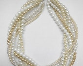 Ivory matte white chamapgne silver bride bridal braided twisted chunky statement pearl necklace bridesmaid