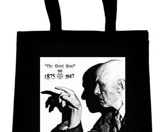 Aleister Crowley The Great Beast 666 Black Tote Bag Occult Handbag