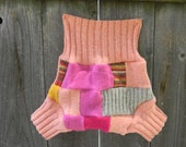 Upcycled Wool Soaker Cover Diaper Cover With Added Doubler Girly Patchwork/ Scrappy LARGE 12-24M Kidsgogreen