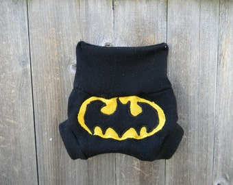 Upcycled Merino Wool Soaker Cover Diaper Cover With Added Doubler Black With Batman  Applique NEWBORN 0-3M Kidsgogreen