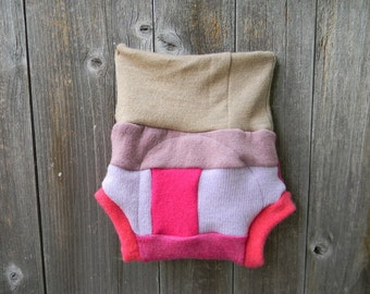Upcycled Wool Soaker Cover Diaper Cover With Added Doubler Girly Patchwork Scrappy SMALL 3-6M Kidsgogreen