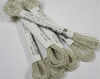 Cosmo, Sparkle Floss, 76-1,  Single Strand Metallic Floss, Silver White Embroidery Floss