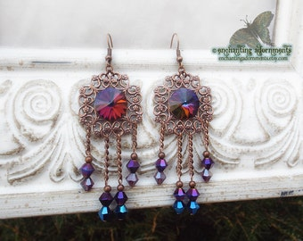 "ENCHANTRESS ""Medea"" Mystical Swarovski Aged Copper Vintage Filigree Earrings"