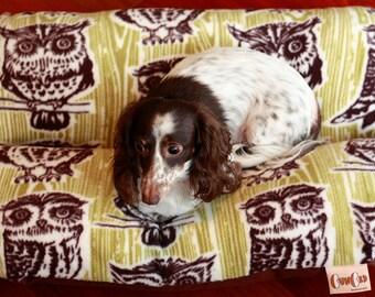 Bunbed, Dachshund Dog Bed, Fall Autumn Owls Green Wood Grain Fleece Dog Bed, Small Dog Bed - Retro Dog Bed, Burrow Bed, Bun Bed