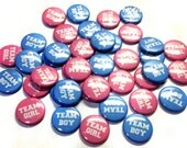 """Gender Reveal, Baby Shower, Team Boy, Team Girl Pink and Blue Mixture 1"""" Pin Back Buttons, Baby Reveal, Reveal Shower, Team Pink, Team Blue"""