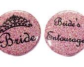 """Pink Crown Bride, 1.5"""", 2.25"""", Bride's Entourage, Bachelorette, Bachelorette Party, Bachelorette, Bride's Hen Party, I Do Crew, Team Bride"""