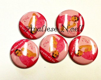 """We Can Cure It Magnet, 1"""" Button Magnet, Breast Cancer Magnet, Breast Cancer Awareness, Breast Cancer Button, Pink Magnet, Cancer Magnet"""