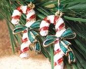 Christmas Candy Cane Earrings 14k Gold Red White Stripe Earrings Christmas Gift Idea Winter Holiday Jewelry White Red Christmas Earrings