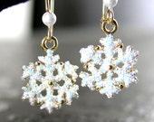 Dainty White Snowflake Earrings 14k Gold Fill Snow White Glitter Winter Earrings Christmas Gift Idea Holiday Winter Fashion