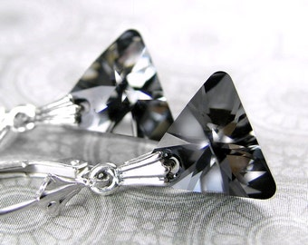 Dark Gray Earrings Sterling Silver Leverback Earrings Dainty Swarovski Crystal Triangle Earrings Geometric Charcoal Gray Crystal Earrings