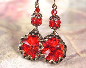 Siam Red Earrings Swarovski Red Crystal Earrings Antique Gold Ruby Red Drop Earrings Red Dangle Earrings