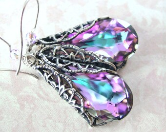 Purple Pink Earrings Sterling Silver Earrings Swarovski Crystal Earrings Antique Silver Earrings Pink Dangle Earrings