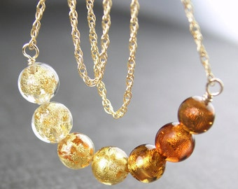 Amber Topaz Gold Necklace 24k Gold Venetian Jewelry Murano Glass Necklace 14k Gold Fill Chain Beaded Necklace Topaz Amber Necklace
